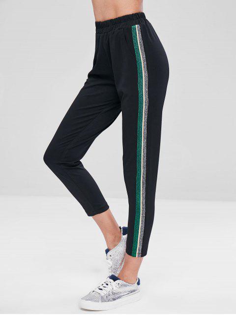 Pantalon Bordure Contrastante à Taille Haute - Noir M Mobile