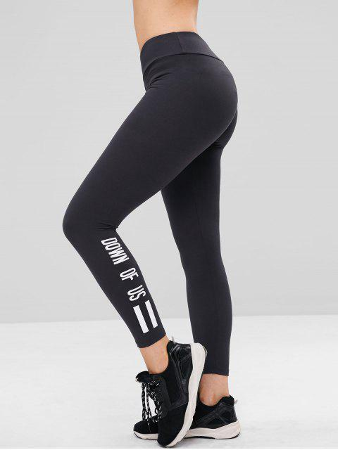 shops Contrasting Letter Graphic Leggings - JET GRAY ONE SIZE Mobile