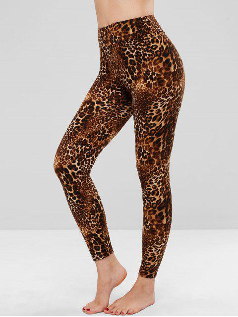Leotardos suaves de talle alto con estampado de leopardo - Leopardo Talla única Mobile