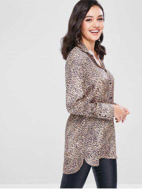shops Button Up Leopard Longline Shirt - LEOPARD L Mobile