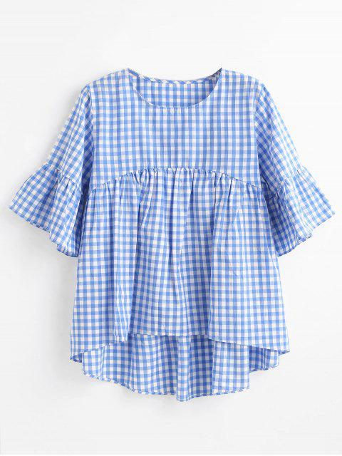 fancy High Low Plaid Blouse - SKY BLUE M Mobile
