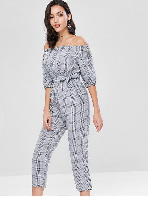 hot Plaid Off Shoulder Jumpsuit - GRAY M Mobile