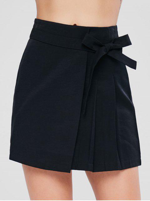 online Knotted Overlap Skirt - BLACK L Mobile