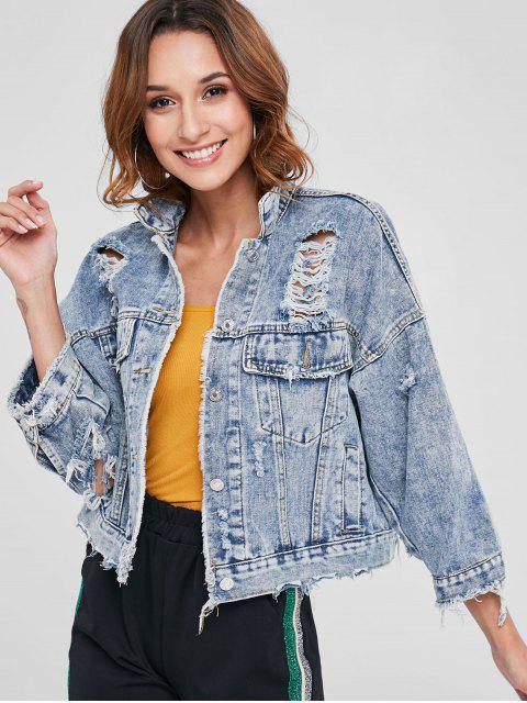 fashion Cut Out Ripped Denim Jacket - DENIM BLUE ONE SIZE Mobile