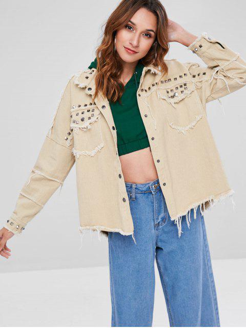 chic Frayed Hem Rivet Loose Jacket - LIGHT KHAKI ONE SIZE Mobile