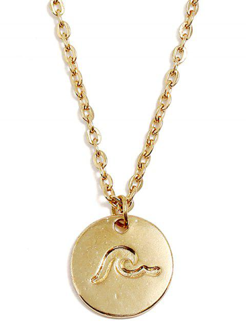 Onda do mar rodada impresso colar de pingente - Ouro  Mobile