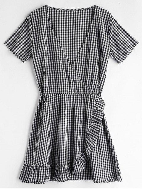 women ZAFUL Gingham Ruffles Mini Dress - BLACK M Mobile