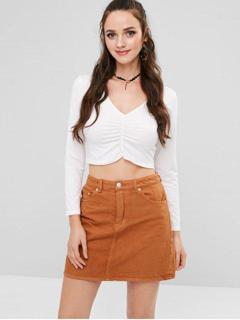 lady Ruched Front Long Sleeve Cropped T-Shirt - WHITE L Mobile