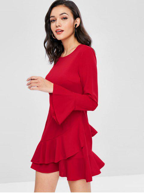 shop Flare Sleeves Ruffled Dress - RED L Mobile