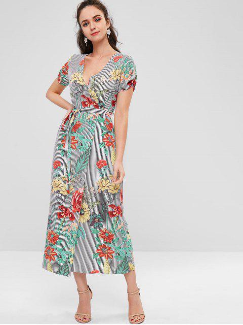 Vestido con pliegues de rayas florales - Multicolor 2XL Mobile