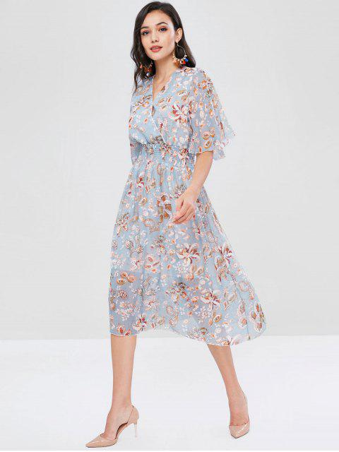 online Plant Print Shirred Surplice Dress - MULTI L Mobile