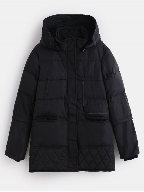 womens Winter Faux Fur Lined Quilted Coat - BLACK M Mobile