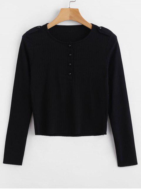 outfits Buttoned Slim Tee - BLACK M Mobile