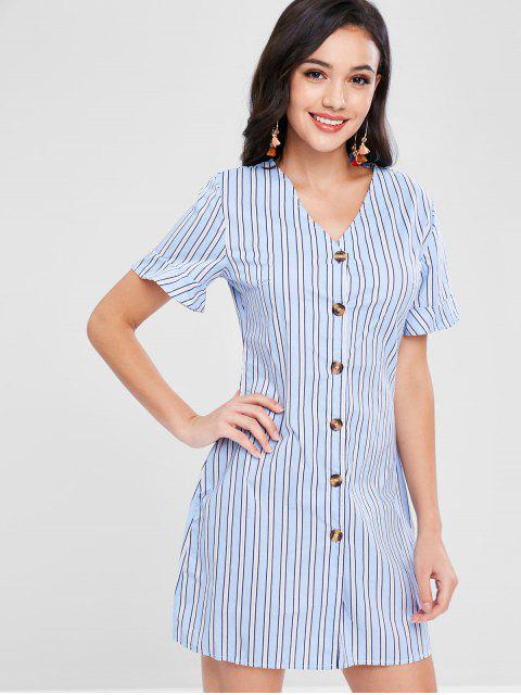 women Button Front Striped Mini Dress - DENIM BLUE S Mobile