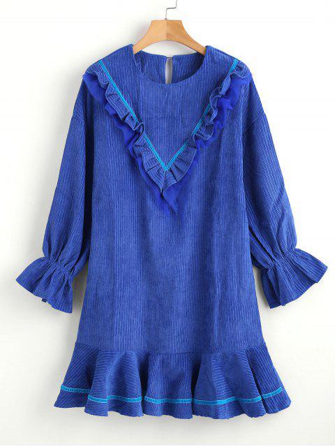 outfit Ruffle Drop Waist Dress - OCEAN BLUE L Mobile