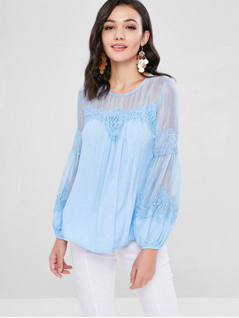 unique Lace Sheer Panel Bishop Sleeve Blouse - DAY SKY BLUE L Mobile