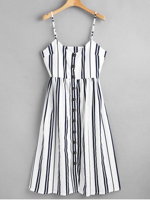 online Button Through Cami Striped Midi Dress - MULTI M Mobile