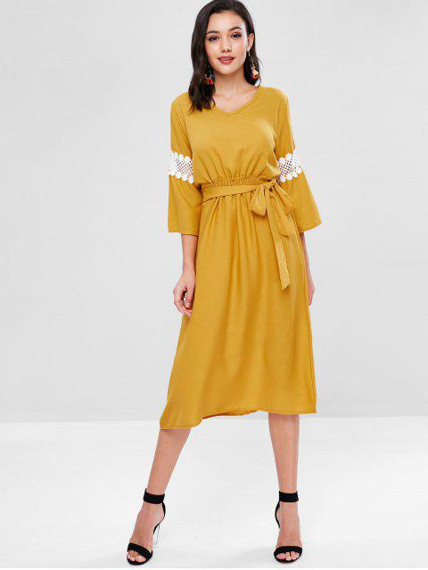 shops Lace Panel Knotted Mid Calf Dress - GOLDEN BROWN XL Mobile