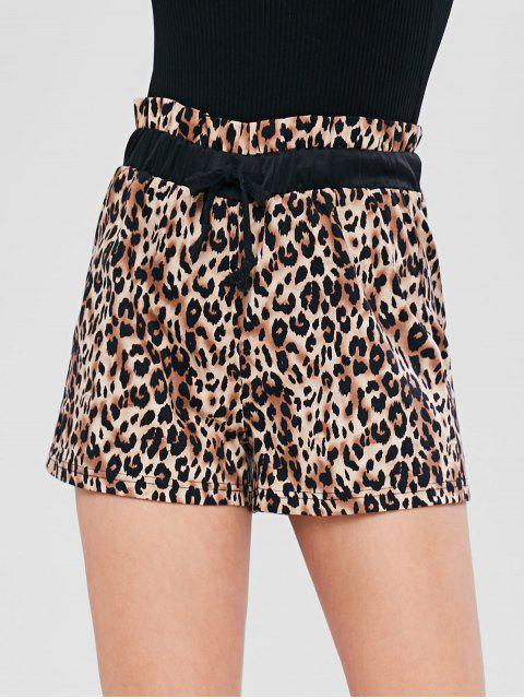 affordable Pull On Leopard Print High Waisted Shorts - LEOPARD L Mobile