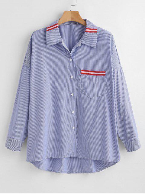 buy Oversized Striped Pocket Shirt - MULTI L Mobile