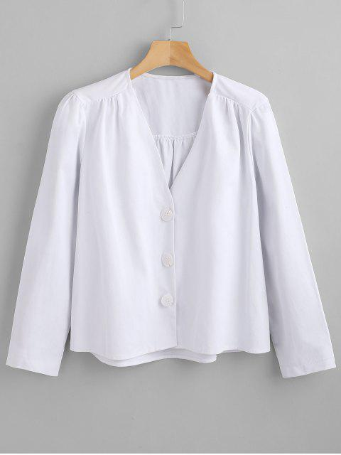 hot Button Up Long Sleeve Top - WHITE L Mobile