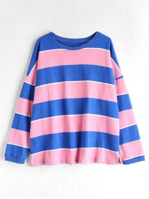 shop Side Slit Striped Loose Sweatshirt - PINK ONE SIZE Mobile