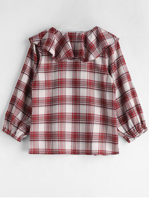 outfits Ruffle Plaid Blouse - MULTI M Mobile