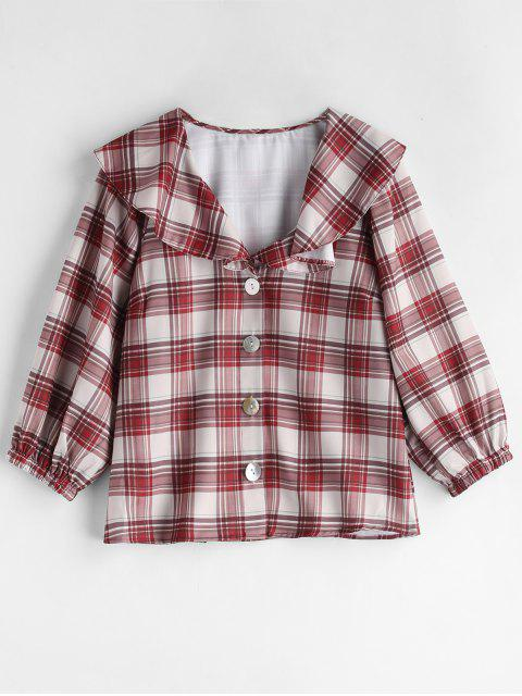 trendy Ruffle Plaid Blouse - MULTI L Mobile