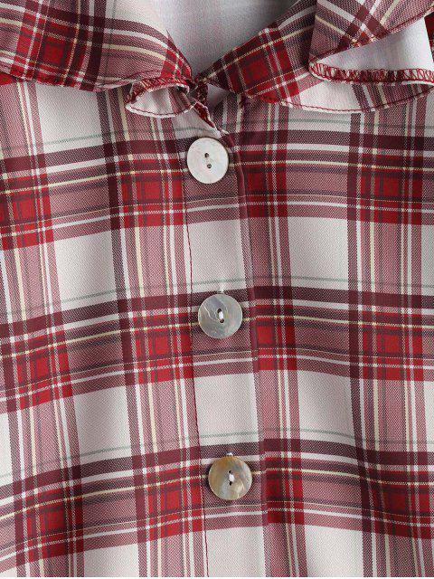 trendy Ruffle Plaid Blouse - MULTI L Mobile