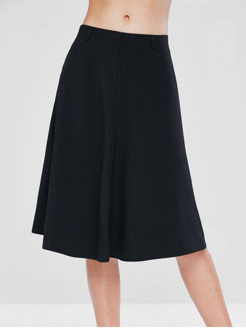 womens Mid Waist A Line Skirt - BLACK L Mobile