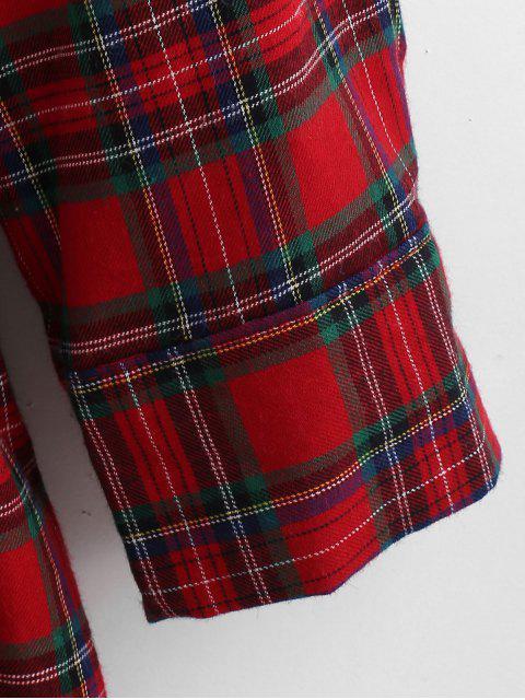 women Flounce Plaid Tunic Blouse - MULTI S Mobile