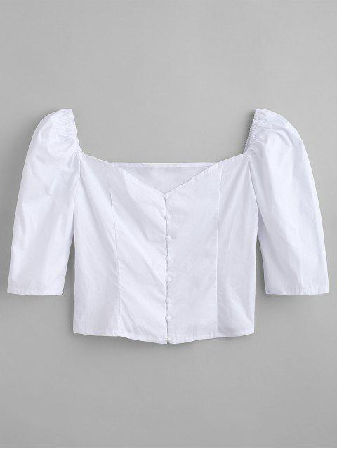 ladies Sweetheart Button Up Top - WHITE M Mobile