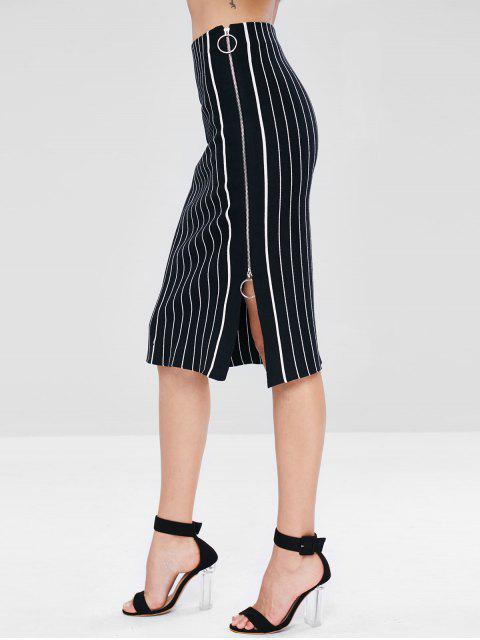 lady Zip Up Striped Midi Knit Skirt - BLACK ONE SIZE Mobile