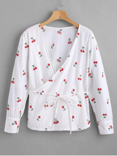 best Long Sleeve Cherry Embroidered Wrap Top - WHITE M Mobile