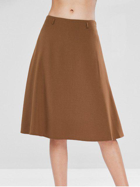 outfits Mid Waist A Line Skirt - LIGHT BROWN S Mobile
