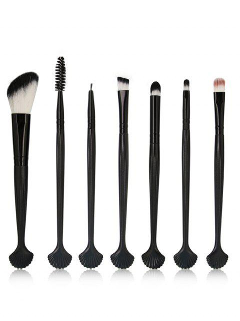 affordable 7Pcs Shell Shaped Eyeshadow Blending Eyebrow Makeup Brush Suit - BLACK  Mobile