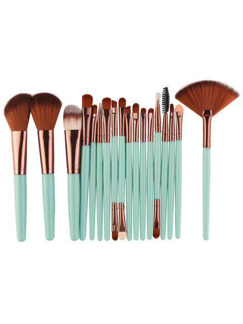 ladies Professional 18Pcs Ultra Soft Silky Cosmetic Brush Suit - MACAW BLUE GREEN  Mobile