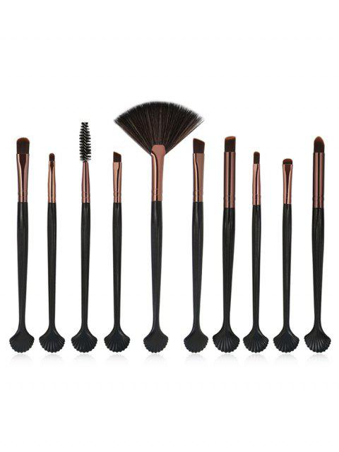 new 10Pcs Shell Shaped Eye Cosmetic Brush Set - COFFEE  Mobile