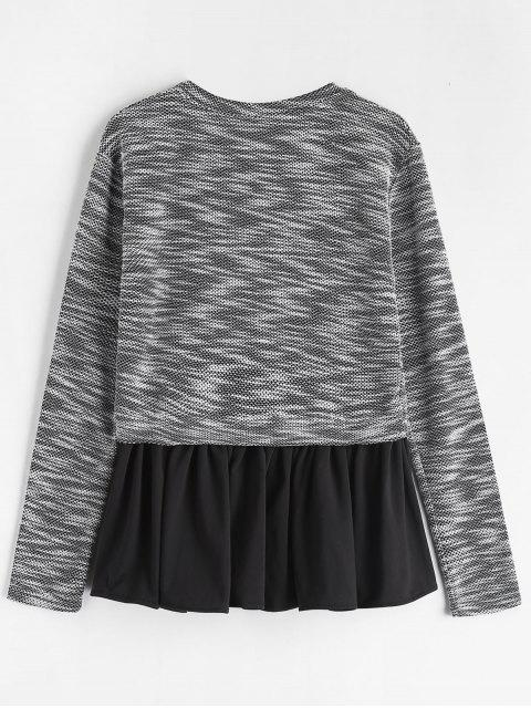 shops Peplum Fish Scale Tweed Long Sleeve Tee - BLACK L Mobile