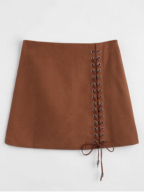 best Mini Lace-up Skirt - DEEP BROWN M Mobile