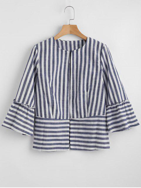 trendy Stripes Open Front Jacket - GRAY S Mobile