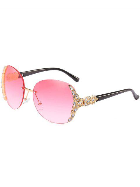 women's Vintage Rhinestone Inlaid Rimless Sunglasses - PINK  Mobile
