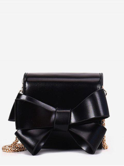 fashion Bow Solid Chain Crossbody Bag - BLACK  Mobile