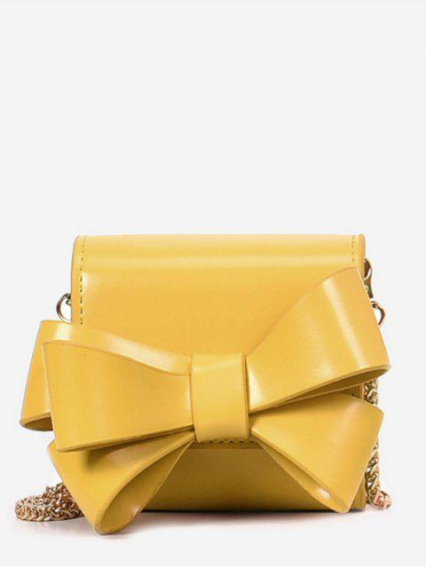 fancy Bow Solid Chain Crossbody Bag - YELLOW  Mobile