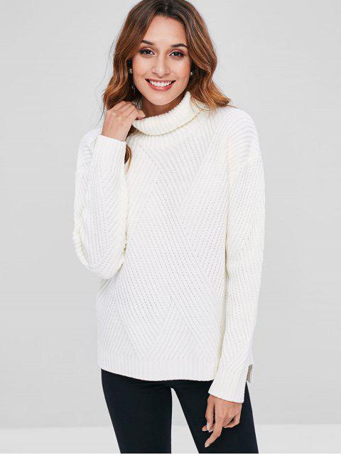 fashion Turtleneck Ribbed Drop Shoulder Sweater - WHITE ONE SIZE Mobile