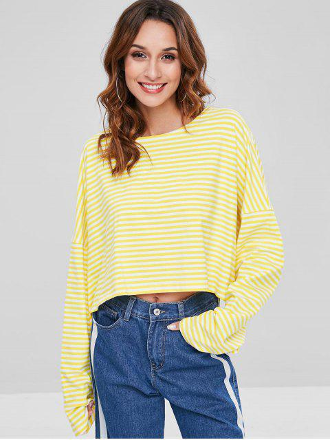 affordable Oversized Striped T-Shirt - YELLOW L Mobile