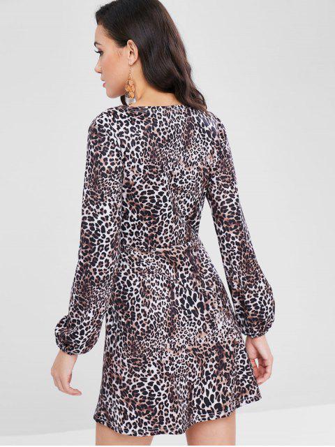 Robe Léopard Imprimé Superposée à Manches Longues - Léopard S Mobile