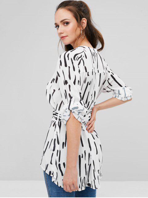 affordable ZAFUL Tie Belt Striped Flowy Chiffon Shirt - WHITE L Mobile