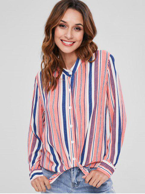 women ZAFUL Button Down Stripes Shirt - MULTI L Mobile