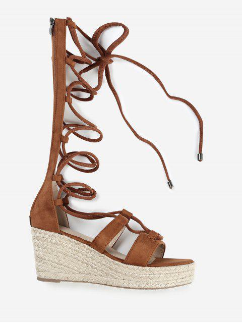 ladies ZAFUL Lace Up Suede Espadrille Sandals - BROWN 37 Mobile